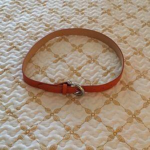 Burnt orange Italian leather belt